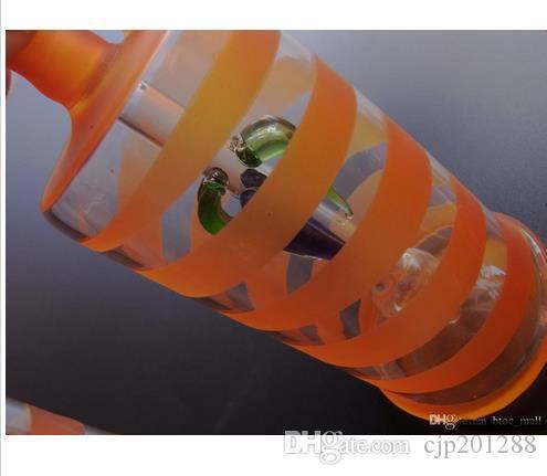 Envío gratis Tubos de vidrio Glass bubbler Glass glass plataforma petrolera Bongs de vidrio Naranja rayas JH031-10mm