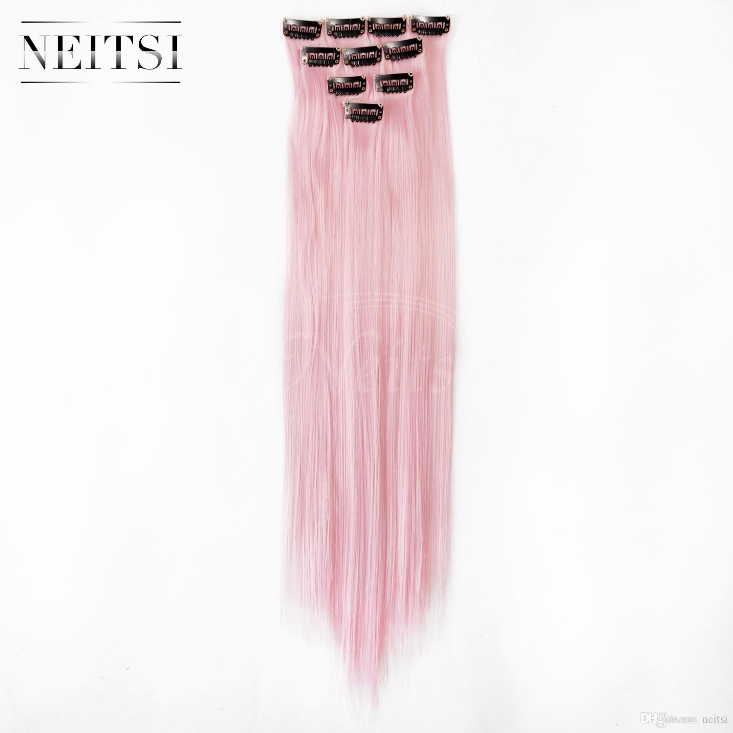 Hot Light Pink Ombre Hair Extensions 18 Synthetic Colorful Clip In