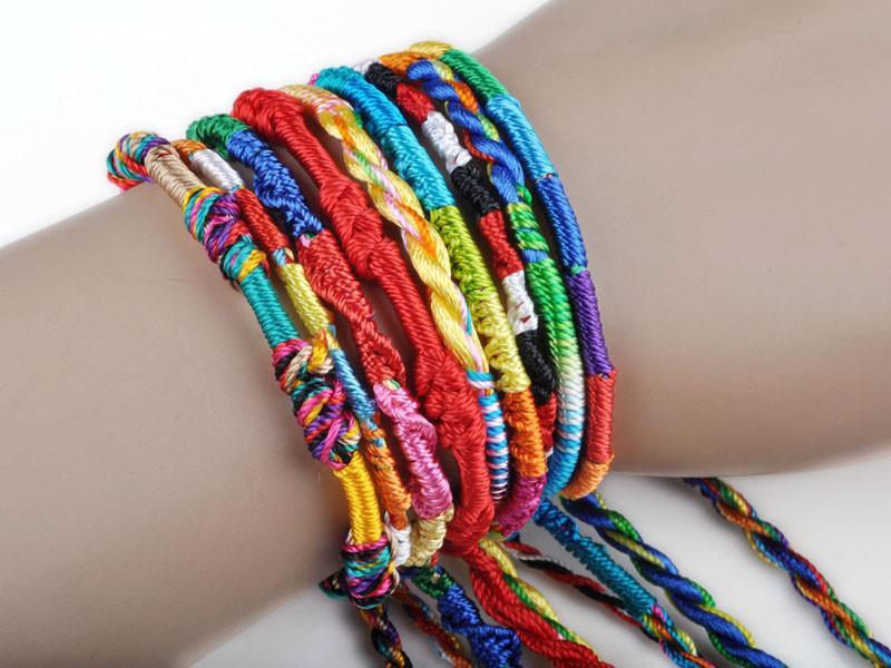 Armband Mädchen Luxus Bunte Lila Unendlichkeit Armband Handgemachten Schmuck Billig Braid Cord Strang Geflochtene Freundschaftsbänder