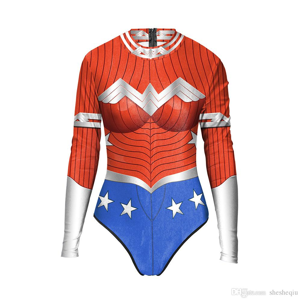 Trajes de Halloween 3D para Mulheres Mulher Maravilha Traje Adulto Bodysuit Personagem Trajes de Roupas Trajes de Halloween trajes Frete Grátis