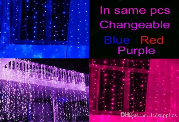 Новое прибытие реальные изменчивые цвета те же части занавес рождественские огни 10 * 3m 8 * 3m 6 * 3m 3 * 3m светодиодный орнамент свет Фея свадьба