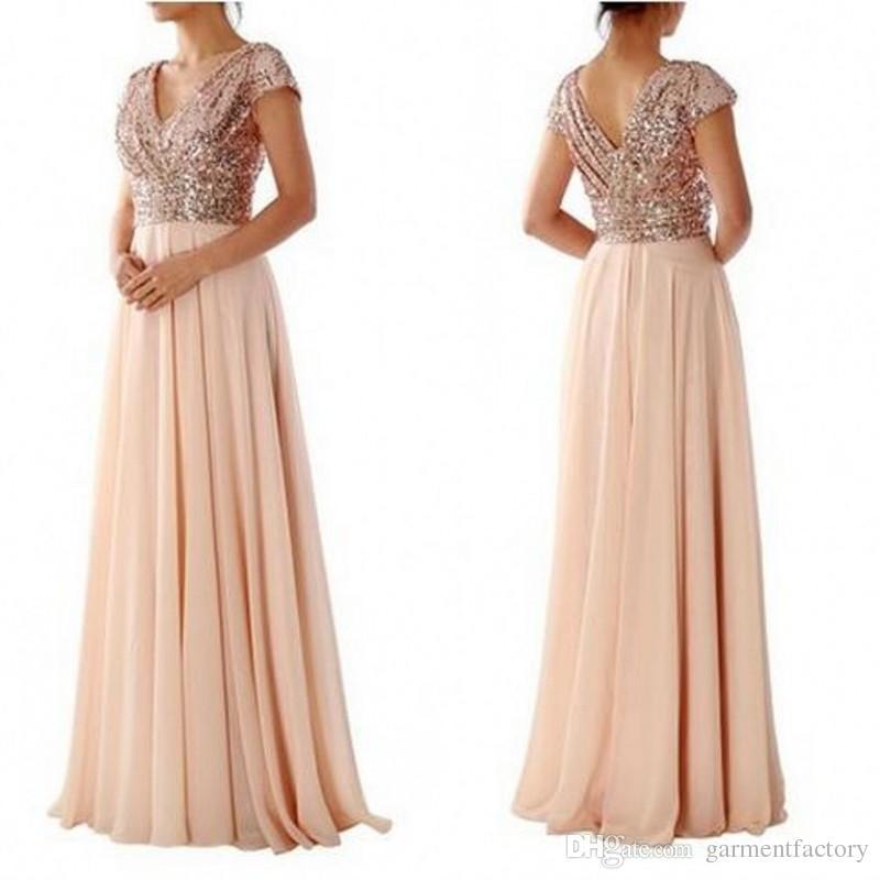Rose Gold Sequin Top Bridesmaid Dresses Modest V Neck Short ...