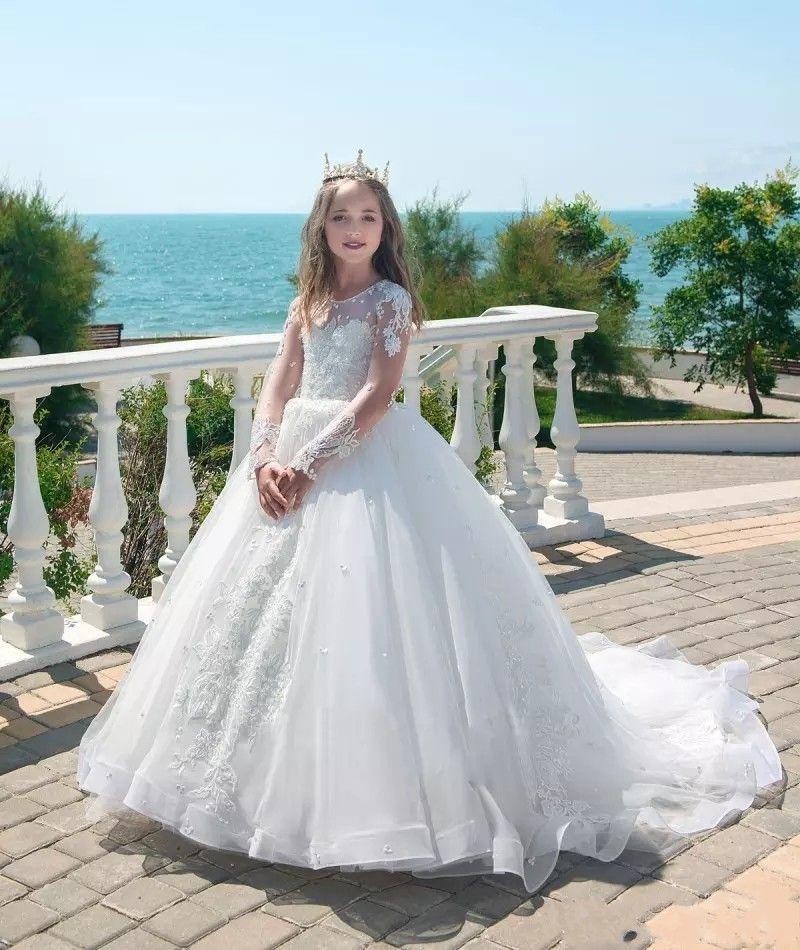 Long Sleeve Princess White Flower Girl Dresses Full Applique Jewel Neck Pageant Dresses Communion Wear Kids Luxury Wedding Gowns