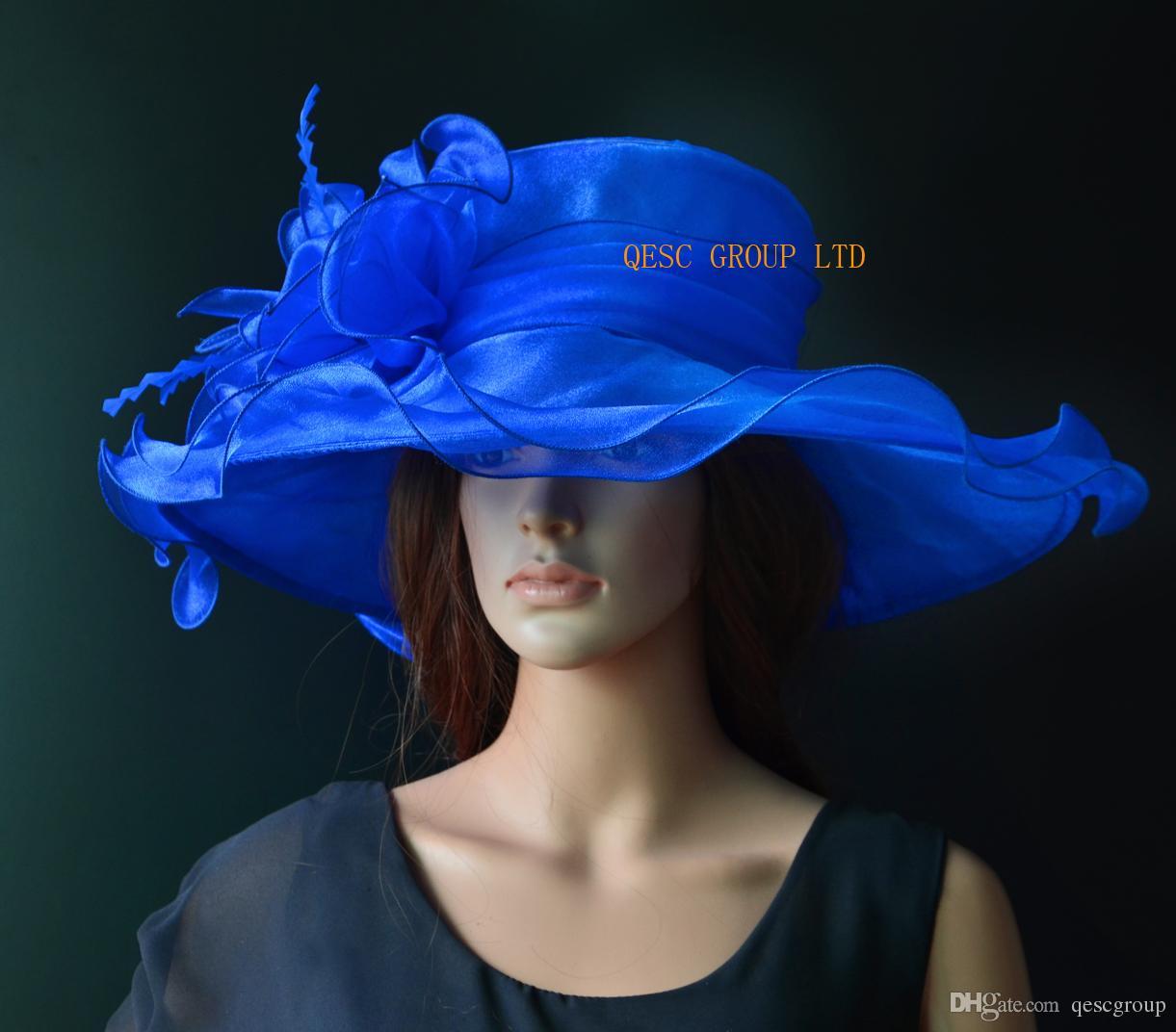 Royal Blue Big Crystal Organza Hat Kentucky Derby Hat W Large Organza Trim  And Feathers For Wedding 322de93ef60