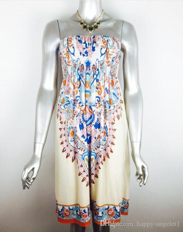 Новая мода сексуальные женщины без бретелек старинные картины напечатаны случайные летнее платье с плеча пляжное платье