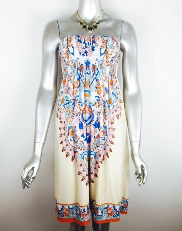 새로운 패션 섹시한 여성 Strapless 빈티지 패턴은 어깨 여름 해변 드레스 캐주얼 여름 복장을 인쇄