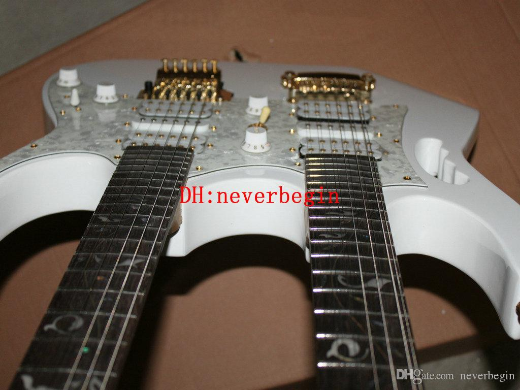 Double Neck Electric Guitar Custom white Double Neck 6/12 strings Electric Guitar The white tree of life OEM Available