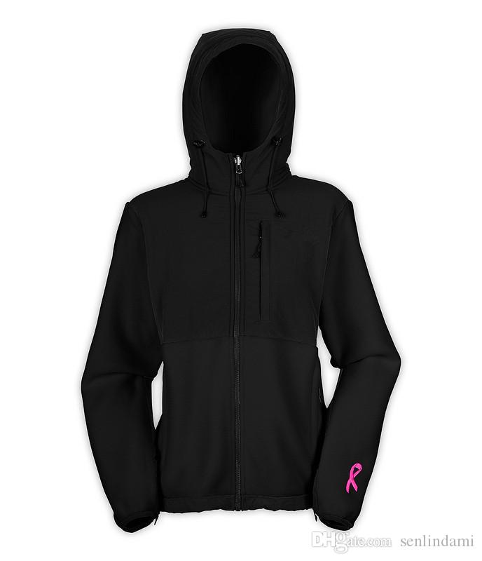 2017 Women's fleece Jackets Sport Outdoor Fleece SoftShell hiking camping climbing Zipper black hooded jacket color pink
