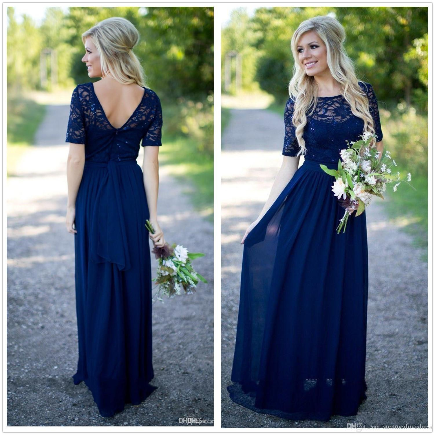 2017 new navy blue 12 long sleeves chiffon country bridesmaid 2017 new navy blue 12 long sleeves chiffon country bridesmaid dresses lace top ruffle floor length wedding party prom dresses navy blue bridesmaid dress ombrellifo Choice Image