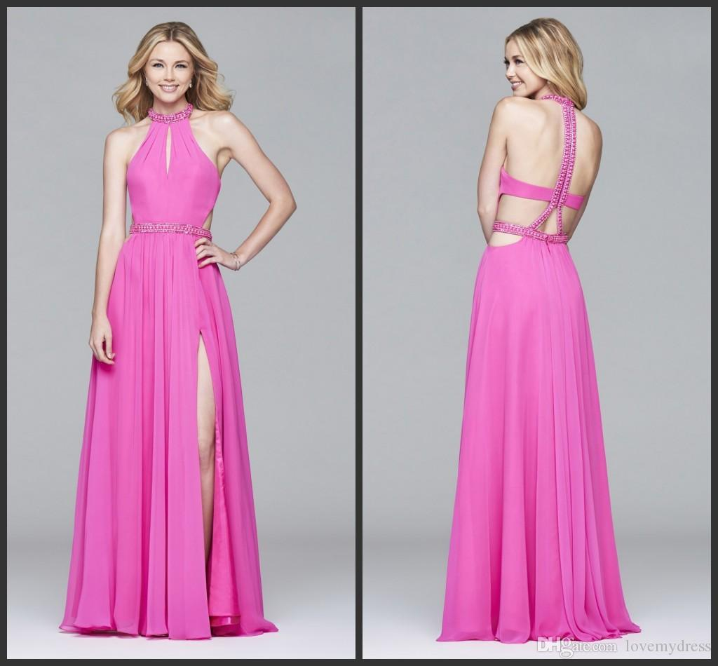 Großhandel Fuchsia Pink Celebrite Kleid Split Promkleid Günstige ...