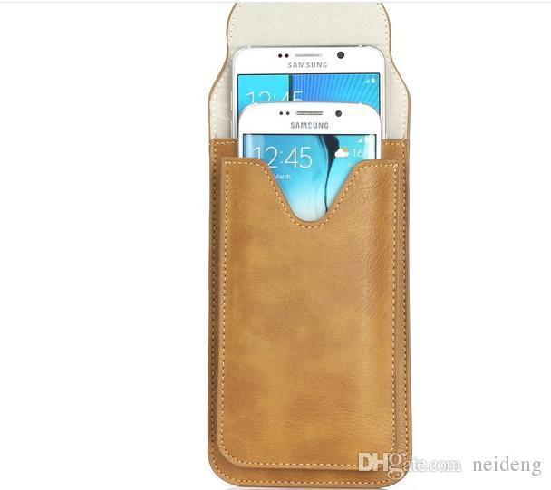 Para iphone 7 más fundas de cuero de PU universal Bolsas dobles al aire libre Cinturón de la bolsa Estuche para teléfono para iphone 6 6s