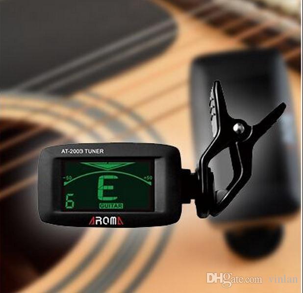 Aroma AT-200D basso elettrico chitarra Ukulele guitarra parti di colore nero LED digitale chitarra sintonizzatore strumenti musicali