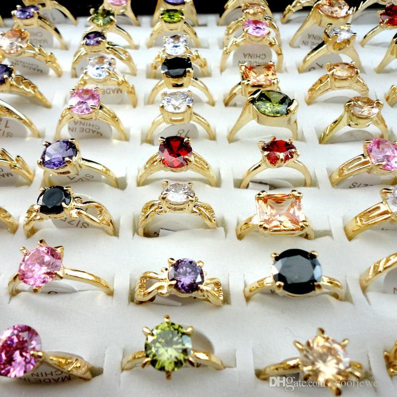 Mode Multicolore Zircon Or Bague de Fiançailles pour les Femmes Mode Bijoux en Vrac Ensemble Mélanger Beaucoup Packs LR439