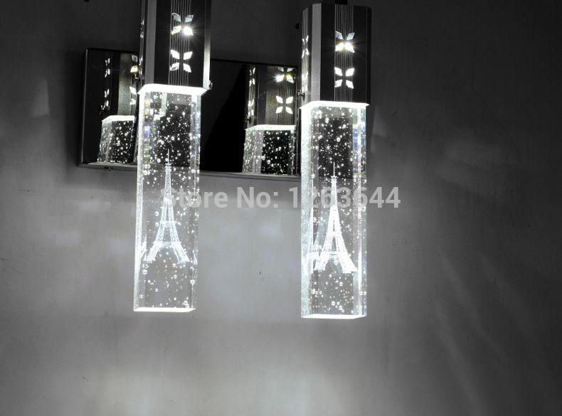 Moderne minimalistische LED K9 Crystal Wandleuchte Bubble Crystal Spalte Nachttischlampe Wohnzimmer Wandleuchte Spiegel Frontleuchte 2 Lichter