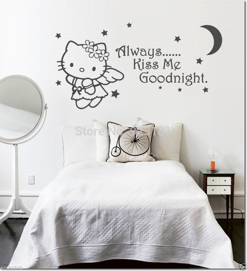 Edroom Series Always Kiss Me Goodnight Hello Kitty Cat Wall Art Stickers  Decal Diy Home Decoration Wall Mural Removable Bedroom Stickers .
