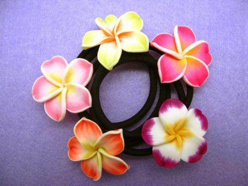 新しい卸売フランジパニの髪のバンド泡ハワイアンプルメリアの花のヘッドバンドの弾性バンドの髪ロープガールヘアアクセサリー/