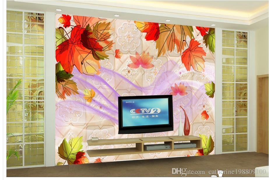 3D Wallpaper für Zimmer Red Leaf Maple Leaf weiche Tasche TV Sofa Hintergrund Wand 3d angepasste Tapete
