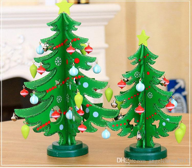 M 28cm Wooden Tabletop Christmas Trees Christmas Tree Xmas Decoration Wooden  Diy Desktop Mini Tree With Small Pendant Christmas Outdoor Decorations ...