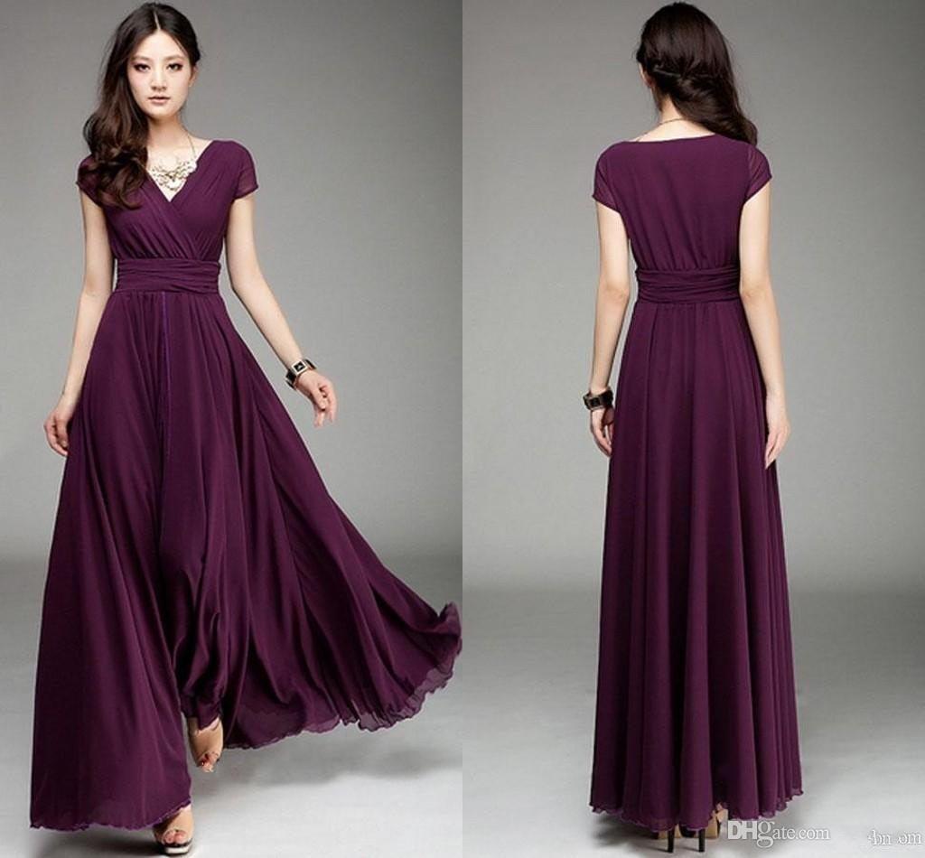 Plum V Neck Short Sleeve Long Chiffon Bridesmaid Dresses With Ruffle Elegant A Line Prom Dresses 2015 Floor Length Wedding Party Dress