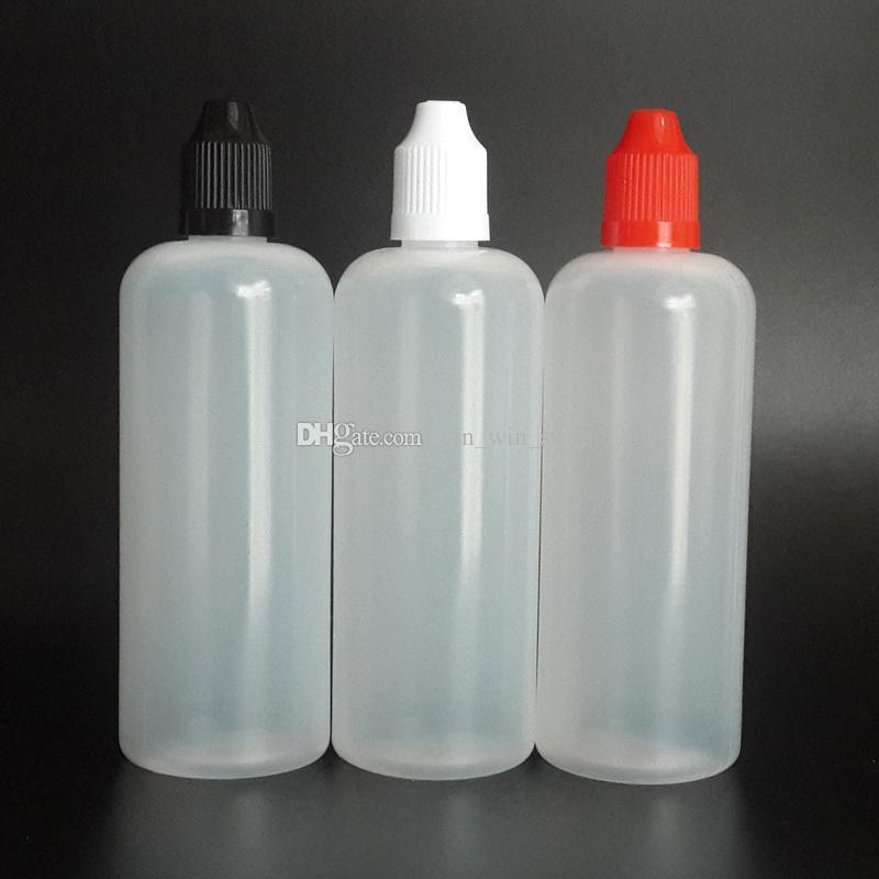 120ml LDPE E 주스 병 120ml는 다채로운 아이 증거 모자 및 긴 정밀한 끝을 가진 플라스틱 점 적기 병을 비 웁니다