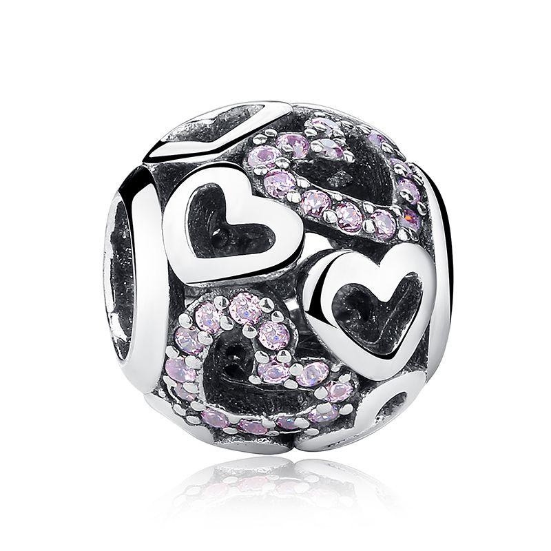 Authentische 925 Sterling Silber Pave Charms Verlieben in Fancy Pink CZ Herzen für DIY Perlen Charm Armbänder Halsketten S358