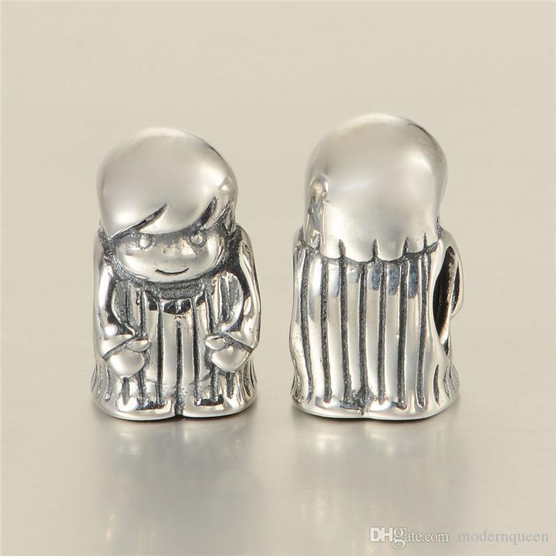 5 pièces / précieux garçon charme de bijoux Beads S925 Sterling Silver Fits pour Bracelets de bricolage de style de marque originales 791530 H6
