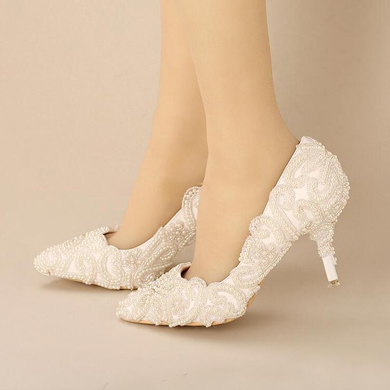 Weiße Perle, die Brautschuhe bördelt, neue Designer-herrliche Hochzeitsfest-Schuhe spitze Zehe-weiße Fersen für Verlobungs-Abschlussball-Schuhe