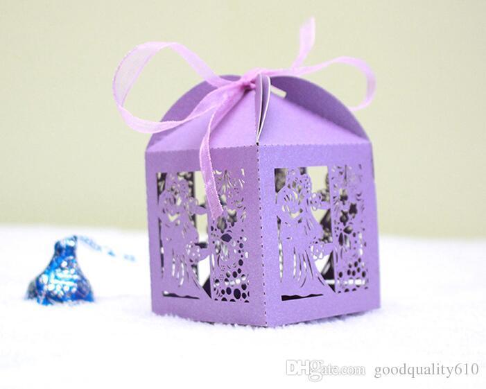 Corte A Laser Oco BrideGroom Flor Caixa de Doces Chocolates Caixas Com Fita Para Festa de Casamento Presente Do Favor Do Chuveiro Do Bebê