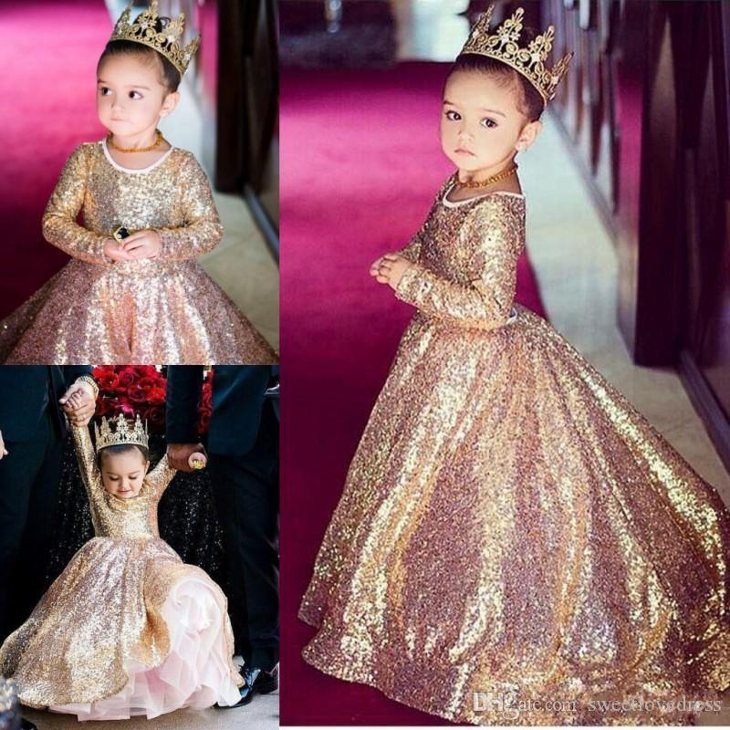 f9455ecf3 2017 Rose Gold Sequin Girls Pageant Dress Jewel Long Sleeves ...