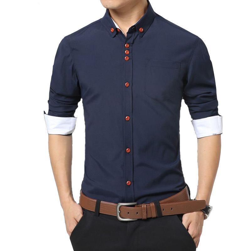 Best Quality New Solid Color Men Shirts Casual Shirt Slim Fit ...