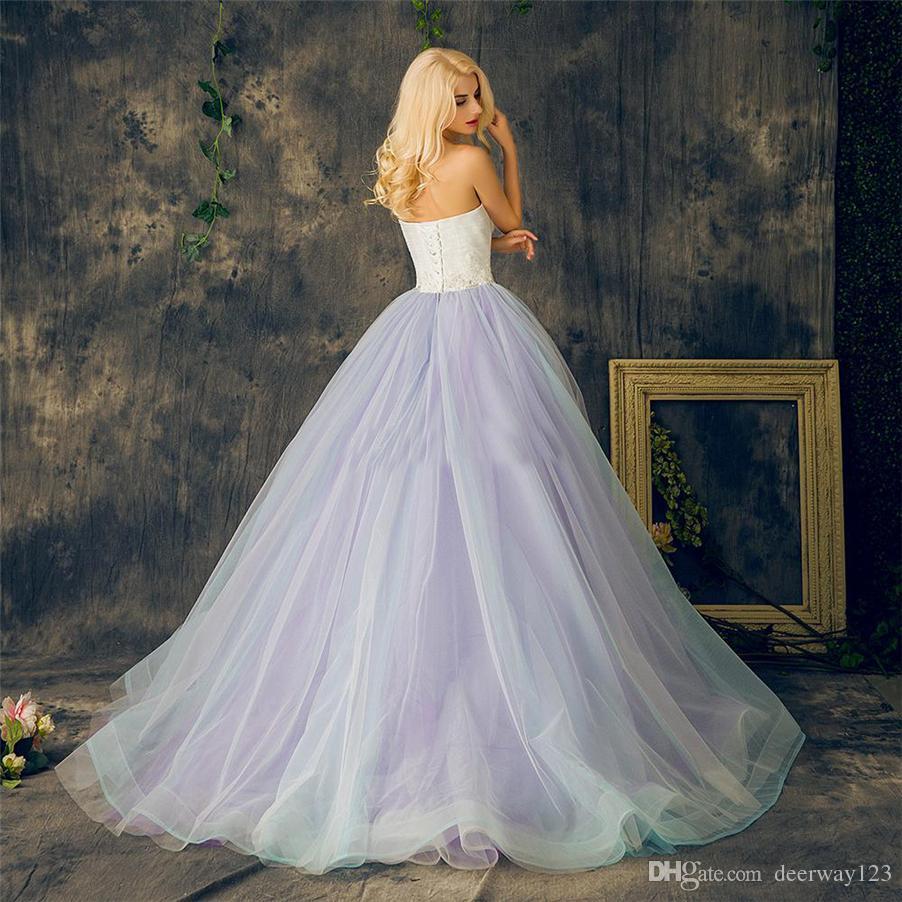 الحبيب الدانتيل متابعة الكرة أثواب بنفسجي زائد حجم الطبقات متعدد الألوان تنورة فساتين الزفاف طويل كريستال الديكور اورجانزا الرباط فستان الزفاف
