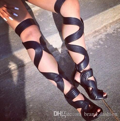 2016 Sexy Dedo Do Pé Aberto Sobre O Joelho de Alta Sandálias Botas Sapatos Mulher Gladiador Sapatos de Salto Alto Celebtiry Lace Up Coxa Botas Altas Botas de Verão