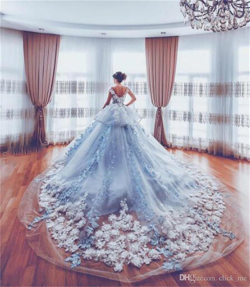 Discount Luxury Wedding Dresses For Bride Cathedral Train 3d ...