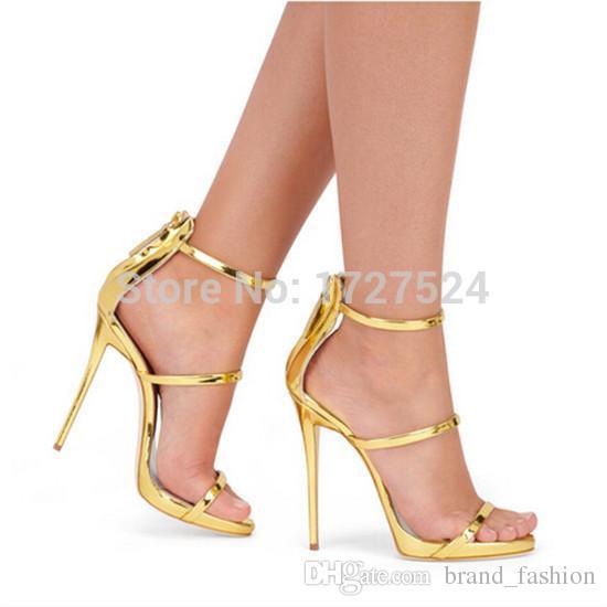 Sandali gladiatore in pelle oro rosa rosa nero Tacchi alti da donna semplici sandali con cinturino incrociato con tre cinturini Sandalo donna