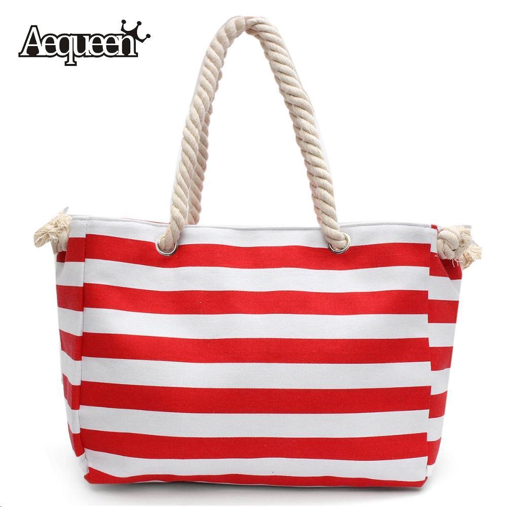 Wholesale Summer Rope Handle Beach Bags Stripe Handbag Lady ...