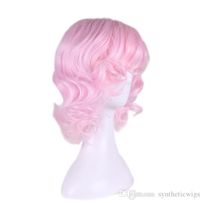 WoodFestival short curly pink wig cosplay anime costume wig heat resistant synthetic wigs lolita cheap wigs for women oblique bangs