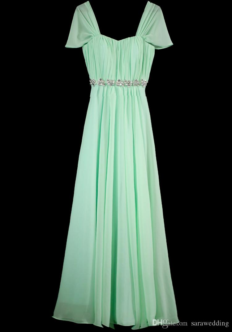 Capped Sweetheart Crystal Long Chiffon Bridesmaid Dress With Short Sleeves 2017 Pleated Wedding Party Dress Mint Green