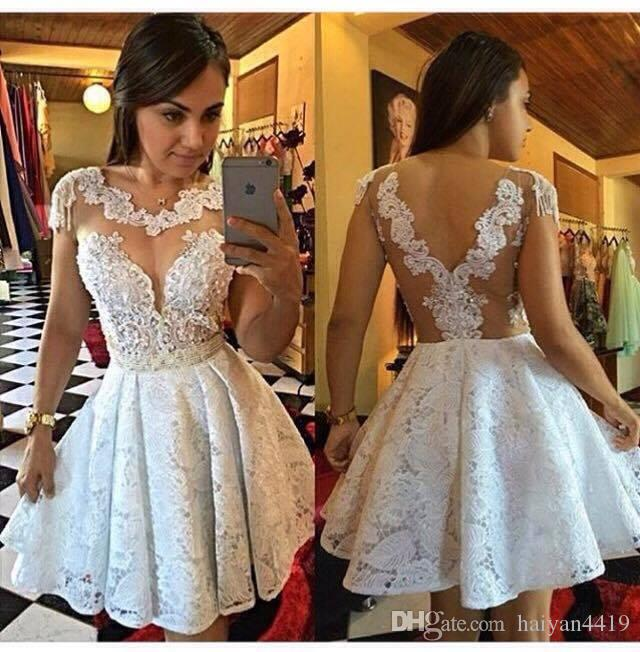 2017 New Sexy Cocktail Dresses Lace Crystal Beads Illusion Neck Short Mini Homecoming Dress Open Back Formal Party Dress Prom Gown For Women
