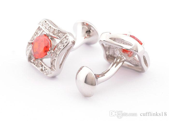 Luxury HOT HOT shirt cufflink for mens gift Brand cuff button Red Crystal cuff link High Quality Jewelry 980012