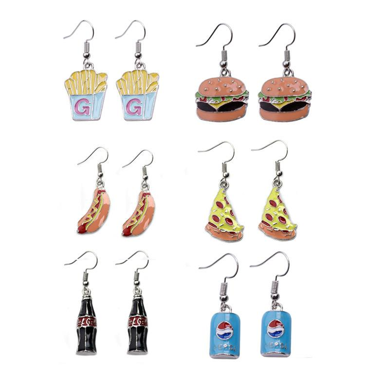 Happy-time metal jewelry alloy earrings mini soda bottle and cans Bottle caps Hamburgers French fries ear hook lovely fun whimsy earrings