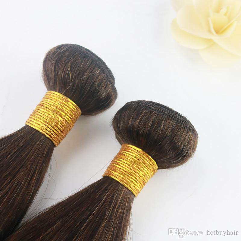 Virgin Brazilian Straight Human Hair Bundle Can Be Dyed Color 2# 100 Real Human Hair Extensions