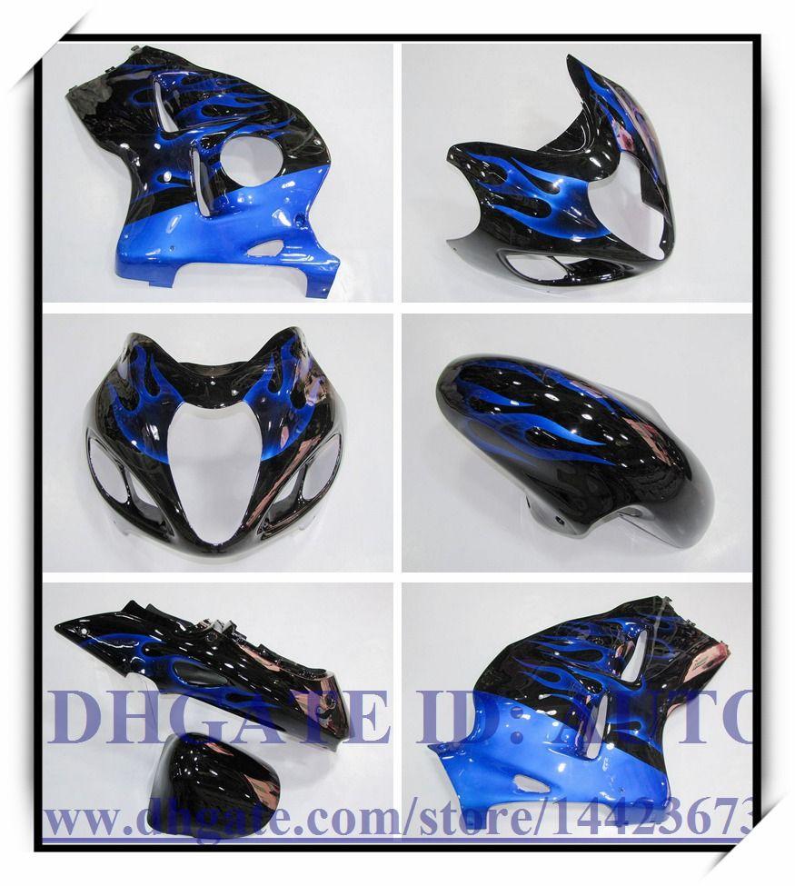 INJECTION ABS BRAND NEW FAIRING KIT 100% FIT FOR SUZUKI GSXR 1300 97-07 GSXR1300 1997-2007 GSX-R 1300 1998 1999 #SH737 BLACK BLUE FLAME