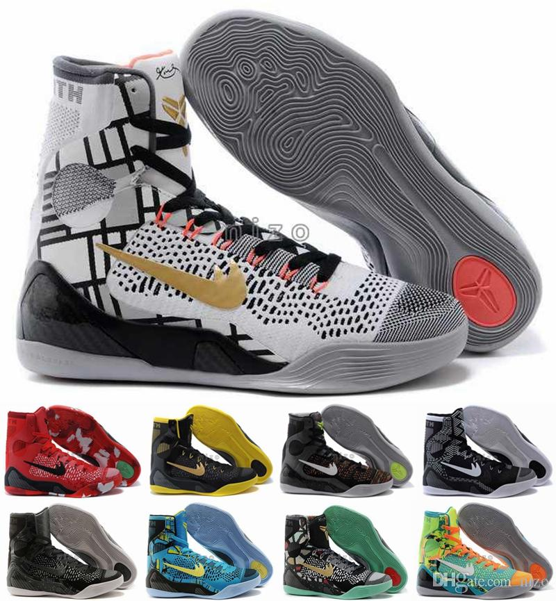 c5aec211f27f1 2016 Kobe 9 Elite Basketball Shoes Black Mamba Mens Weaving High Top  Basketball Shoes KB 9 Trainers Sneakers Shoes Size 40 46 Canada 2019 From  Nizo
