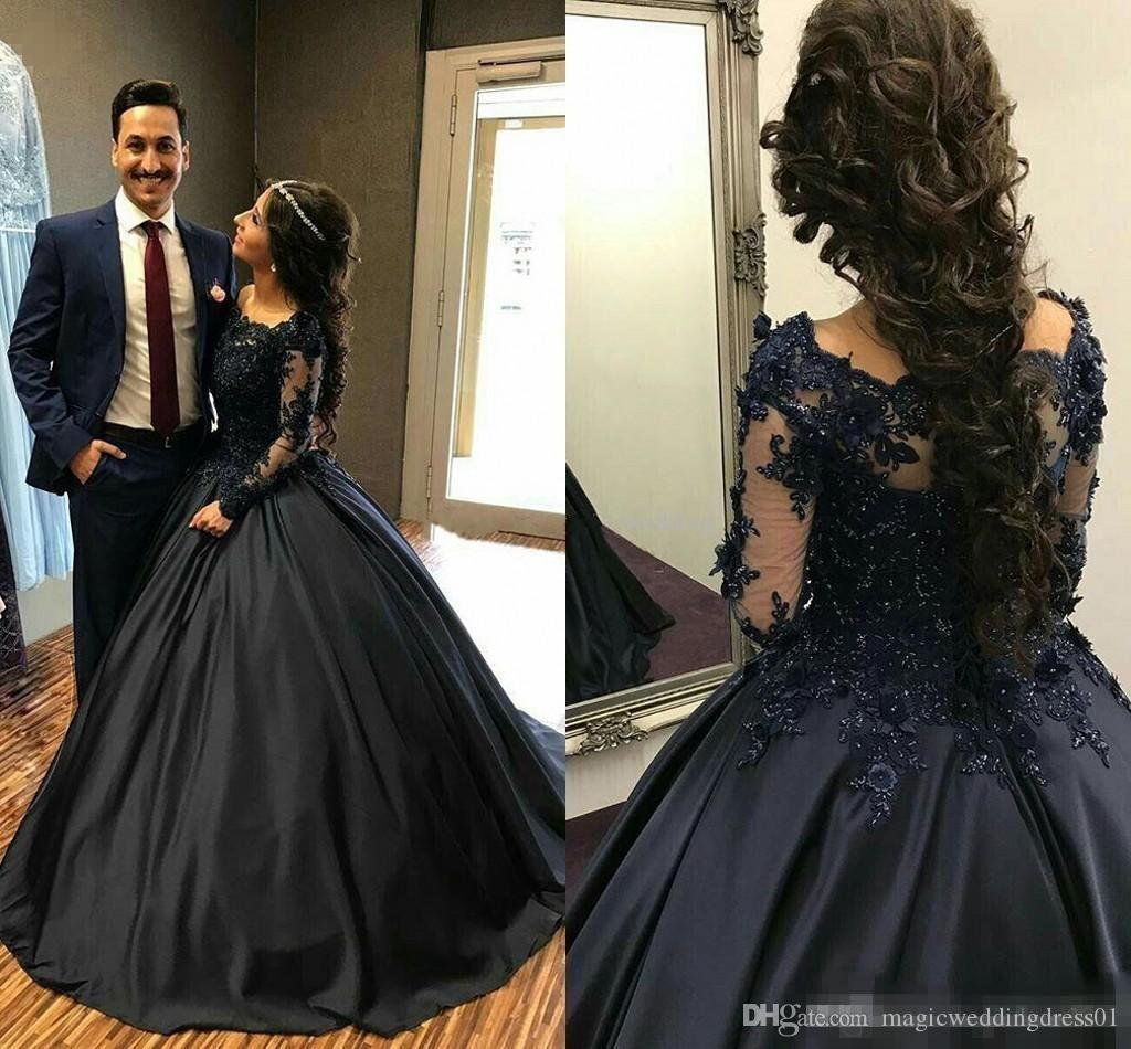 70d1c7a8e5a9 Navy Blue Ball Gown Quinceanera Dresses Off Shoulder Long Sleeves Appliques  Satin Floor Length Prom Dresses Modest Sweet Sixteen Dress Dresses Online  Sexy ...