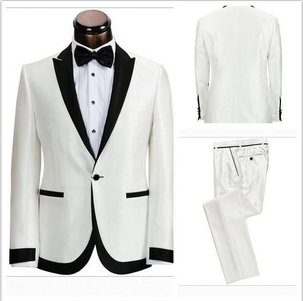 2016 envío libre hombres baratos trajes por encargo Hermosa Luz blanca marfil Trajes Novio traje de boda para hombres Trajes de Esmoquin Chaqueta + Pantalones