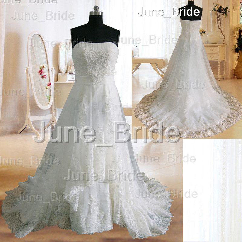 Discount Vintage Lace Wedding Dress Designer Strapless A Line Court ...