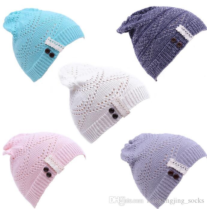 Women Knitted Beanie Hat Lace Brim Button Warm Hats Beret Hedging Cap  Winter Hat Warm Baggy Wool Crochet Hat KKA2896 Skull Caps Stocking Cap From  ... 236fb816223