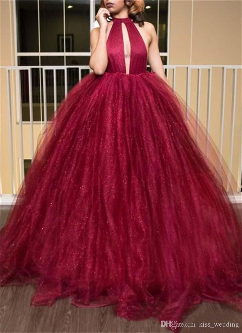 Sexy Backless Red Prom Ball Gown Halter Deep V-Neckline Full Length Puffy Quinceanera Dresses Evening Gown Plus Size Custom Made