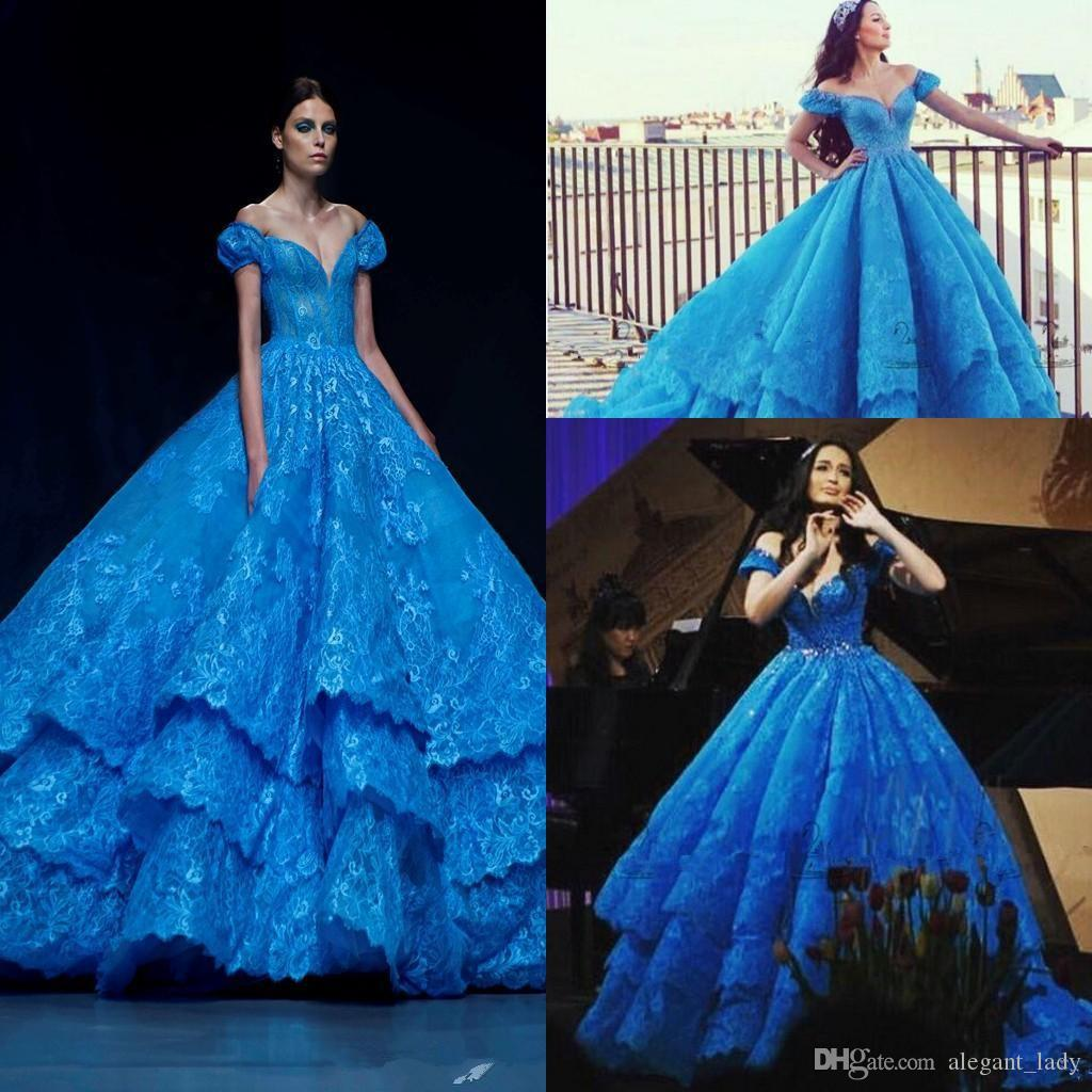 Cinderella In Michael Cinco Blue Lace Puffy Ball Gown Prom Dresses ...