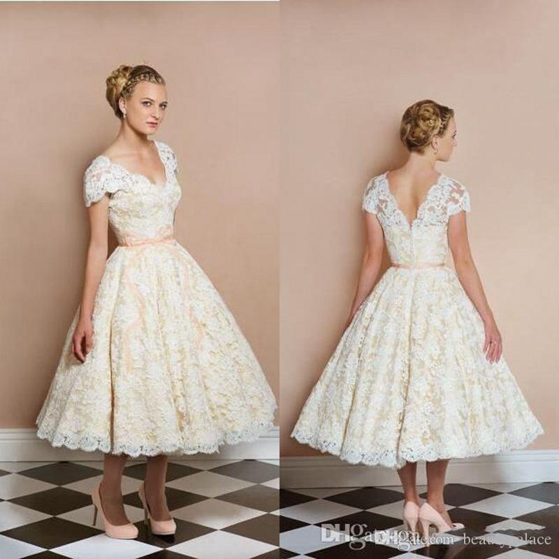 1950 S Vintage Wedding Dresses.1950 S Tea Length Vintage Wedding Dresses V Neck Short Sleeve Light Champagne Bridal Gowns Custom Made Short Reception Dress